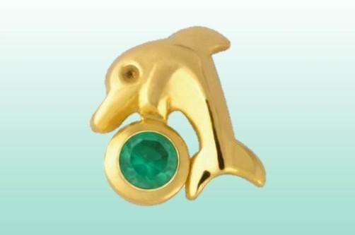 Delphin mit Achat gold 22kt/0.01ct