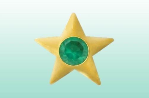 Stern mit Achat gold 22kt/0.01ct