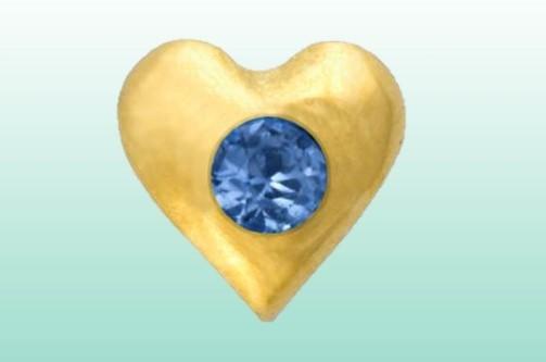 Herz mit Saphir gold 22kt/0.01ct